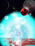 Planets fiction. Fantasy fiction planets in the universe Royalty Free Stock Images