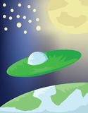 Planets and Flying Saucer in Space Royalty Free Stock Photography
