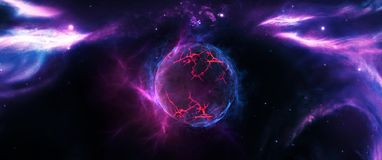 Planets and galaxies, science fiction wallpaper. Beauty of deep space. Billions of galaxies in the universe Cosmic art background Royalty Free Stock Photo