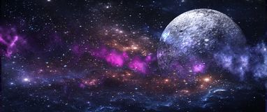 Planets and galaxies, science fiction wallpaper. Beauty of deep space. Billions of galaxies in the universe Cosmic art background stock photos