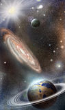 Planets and galaxies in space Royalty Free Stock Images