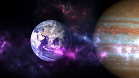 Planets and galaxy, cosmos, physical cosmology. Science fiction wallpaper. Beauty of deep space. Billions of galaxies in the universe Cosmic art background stock images
