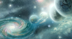 Planets and galaxy in cyan blue tones Stock Photo