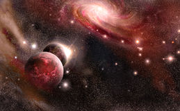 Planets and galaxy in red tones Stock Photo