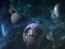 Planets and galaxy, science fiction wallpaper. Beauty of deep space. Billions of galaxies in the universe Cosmic art background royalty free illustration