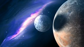 Planets and galaxy, science fiction wallpaper. vector illustration