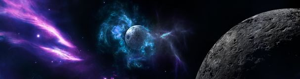 Planets and galaxy, science fiction wallpaper. Beauty of deep space. Billions of galaxy in the universe Cosmic art background vector illustration