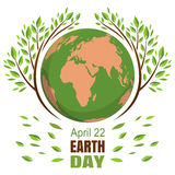 Planets and green leaves. April 22. Happy Earth Day. Vector illustration Stock Photo