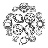 Planets icon set, outline style. Planets icon set. Outline set of planets vector icons for web design isolated on white background stock illustration