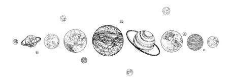 Planets lined up in row. Solar system drawn in monochrome colors. Gravitationally bound celestial bodies in outer space. Natural cosmic objects arranged in Royalty Free Stock Photos