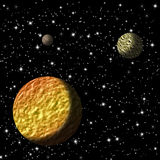 Planets. Mistiness and planets in black starry background Stock Image