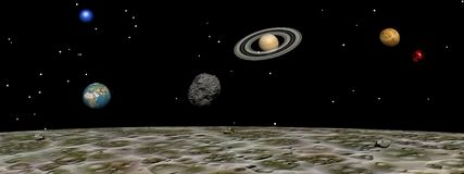 Planets from the moon Royalty Free Stock Photo