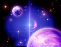 Planets and nebula. Planets and mystic luminous nebula