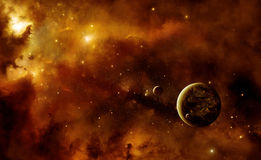 Planets with nebula. Illustration of an alien inhabited planet in space with two moons inside a nebula Royalty Free Stock Photo