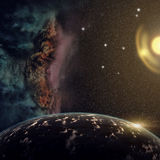 Planets with nebula and stars in cosmos. View on extrasolar planets, nebula and stars in deep space royalty free illustration