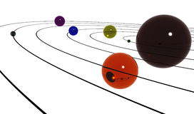 Planets on orbit. Different planets, each on its orbit Royalty Free Illustration