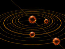 Planets orbits in dark space Stock Image