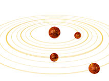 Planets orbits in space. Fire planets with orbits in space on white background Royalty Free Stock Photo