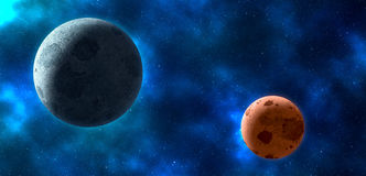 Planets over the nebulae in space Stock Photos