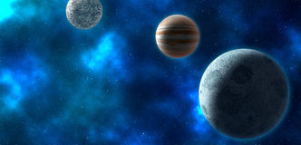 Planets over the nebulae in space Royalty Free Stock Photography