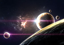 Planets over the nebulae in space Stock Photography