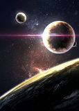 Planets over the nebulae in space Royalty Free Stock Photos