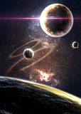 Planets over the nebulae in space Royalty Free Stock Image