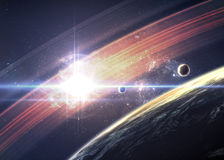 Planets over the nebulae in space Royalty Free Stock Images