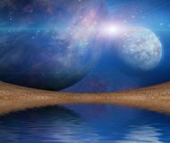 Waters reflection and Planets. Planets reflected in water surface vector illustration