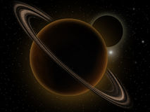Planets and ring. Colourful space starfield nebula, planet and ring Royalty Free Stock Image