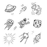 Planets, rockets, spaceships, ufo, stars, astronaut, alien vector set in sketch Stock Images