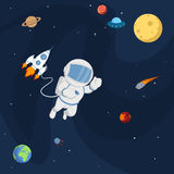 Planets, rockets and stars. Royalty Free Stock Photography