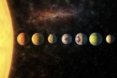 Planets in the row Solar system in the starry universe with copy space Elements of this image furnished by NASA. Planets in the row Solar system in the colorful stock images