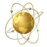 Planets and satellites. Golden planets revolve around the satellites in their orbits Royalty Free Stock Photos