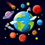 Planets and satellites around the earth. Illustration Stock Image