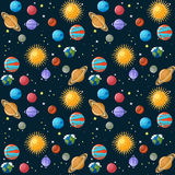 Planets seamless pattern. Solar system planets, sun and stars on dark blue sky background. Educational astronomy for kids. Cartoon vector illustration in flat Royalty Free Stock Image