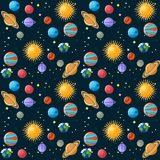 Planets seamless pattern. Solar system planets, sun and stars on dark blue sky background. Educational astronomy for kids. Cartoon vector illustration in flat Stock Image