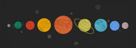 Planets of Solar system arranged in horizontal row against black background. Celestial bodies in outer space. Natural. Cosmic objects in galaxy. Elegant vector illustration
