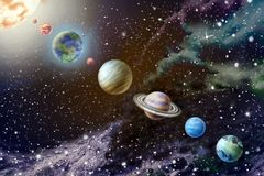 Planets of the solar system. On background starry sky royalty free stock photography