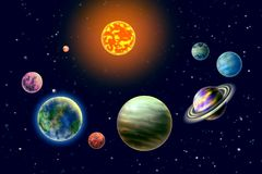 Planets of the solar system. On background starry sky stock illustration