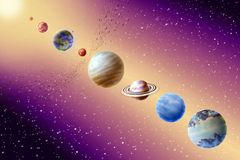 Planets of the solar system. On background starry sky vector illustration