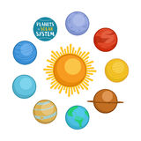 Planets of solar system, cartoon style vector illustration Royalty Free Stock Photos