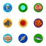 Planets of the solar system. Cosmic objects. Planets icon in set collection on flat style vector symbol stock Stock Image