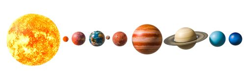 Planets of the solar system, 3D rendering. Isolated on white background vector illustration