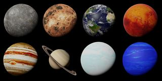 The planets of the solar system isolated on black background. Artistic depiction of the solar system planets stock photos
