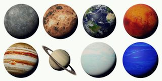 The planets of the solar system isolated on white background. Worlds of the solar system set, cut out on white ground stock illustration