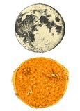 Planets in solar system. moon and the sun. astronomical galaxy space. engraved hand drawn in old sketch, vintage style. For label Stock Images