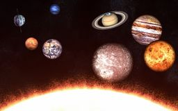 Planets of the solar system on one side of the Sun. Elements of the image are furnished by NASA. Planets of the solar system on one side of the Sun. Image in 5K Royalty Free Stock Photos