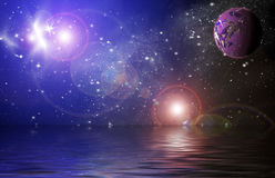 Planets in space. Planet in space Reflected in water in the star sky Royalty Free Stock Photo
