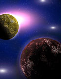 Planets in a space. Light of a star Stock Images